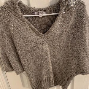 JLO Grey sequin hooded sweater